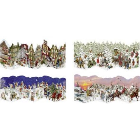 Nostalgische Leporello-Karten - Mini-Adventskalend
